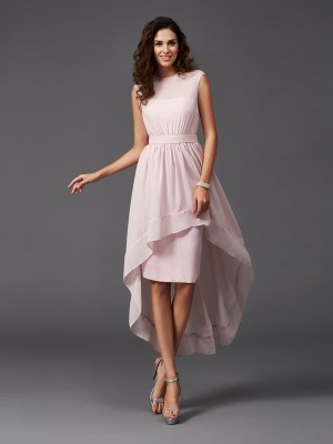 Limitless Looks Princess Style Scoop Sash/Ribbon/Belt High Low Chiffon Bridesmaid Dresses