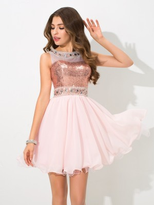 First Impressions Princess Style Sheer Neck Sequin Short Chiffon Cocktail Dresses