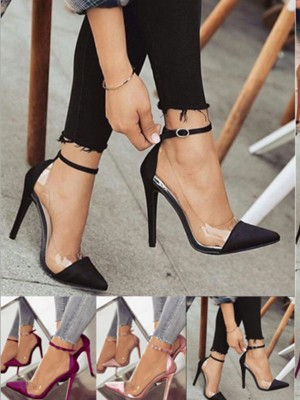 Women's PU Stiletto Heel Closed Toe High Heels