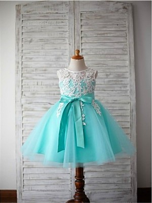 First Impressions Ball Gown Scoop Bowknot Knee-Length Tulle Flower Girl Dresses