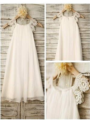 Modern Mood Princess Style Scoop Lace Tea-Length Chiffon Flower Girl Dresses