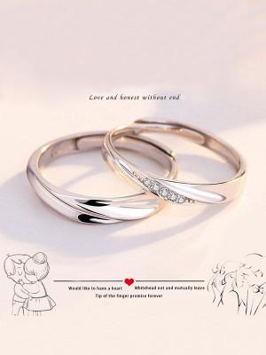 Elegant S925 Silver With Rhinestone Adjustable Couple Rings