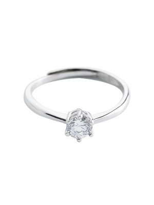 Simple S925 Silver With Zircon Adjustable Wedding Rings