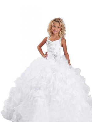 Absolute Lovely Ball Gown Straps Beading Long Organza Flower Girl Dresses