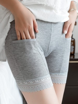 Plus Size Women's Cotton Lace With Pocket Elastic Safety Pants/Safety Shorts