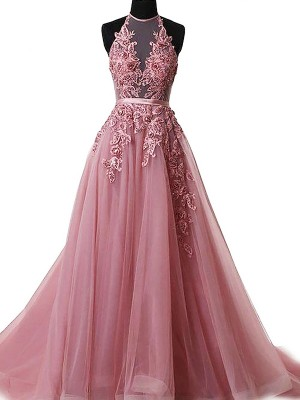 Beautiful You Princess Style Halter Sweep/Brush Train With Applique Tulle Dresses