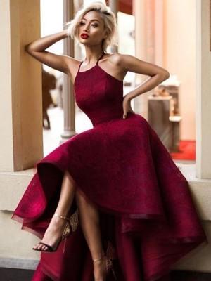 Stylish Refresh Princess Style Jewel Asymmetrical Ruffles Lace Dresses