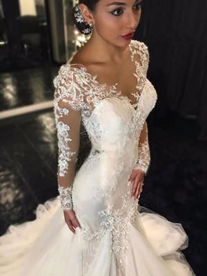 Fresh Picks Mermaid Style V-neck Lace Court Train Tulle Wedding Dresses