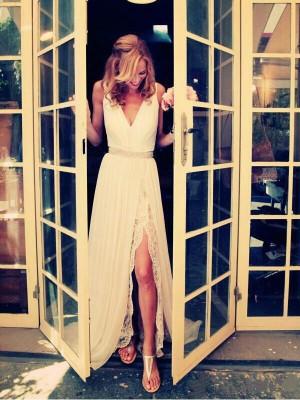 Touch of Texture Princess Style V-neck Sweep/Brush Train Beading Chiffon Wedding Dresses