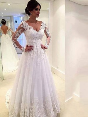 Easily Adored Ball Gown V-neck Lace Sweep/Brush Train Tulle Wedding Dresses
