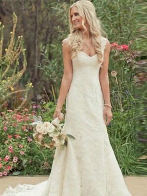 Intuitive Impact Mermaid Style Sweep/Brush Train V-neck Lace Wedding Dresses