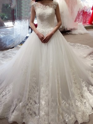 Desired Spotlight Ball Gown Bateau Applique Chapel Train Tulle Wedding Dresses
