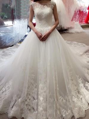 Desired Spotlight Ball Gown Bateau Applique Chapel Train Tulle Wedding Dresses