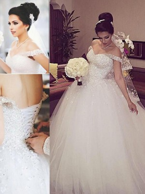 Romantic Vibes Ball Gown Off-the-Shoulder Lace Court Train Tulle Wedding Dresses