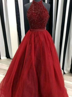 Romantic Vibes Ball Gown High Neck Floor-Length Beading Organza Dresses