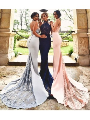 Open to Adoration Mermaid Style Halter Lace Sweep/Brush Train Stretch Crepe Bridesmaid Dresses