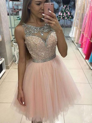 Time to Shine Princess Style Scoop Beading Short/Mini Tulle Dresses