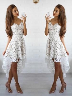 Limitless Looks Princess Style Spaghetti Straps Lace Short/Mini Dresses