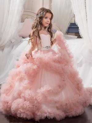 Beautiful You Ball Gown Jewel Crystal Floor-Length Tulle Flower Girl Dresses