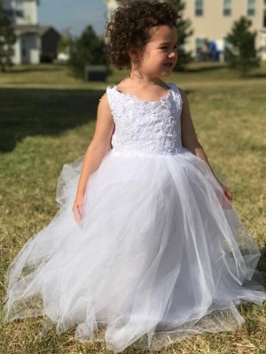 Befits Your Brilliance Ball Gown Jewel Lace Floor-Length Tulle Flower Girl Dresses