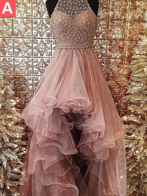 Time to Shine Ball Gown Halter With Beading Asymmetrical Tulle Dresses
