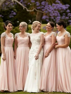 Lively Identity Princess Style Square Beading Chiffon Floor-Length Bridesmaid Dresses