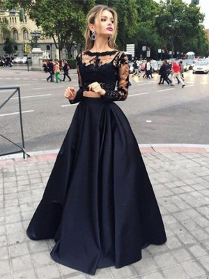 Just My Style Ball Gown Bateau Satin Floor-Length Dresses