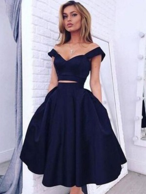 Dashing Darling A-Line Satin Off-the-Shoulder Knee-Length With Ruffles Dresses