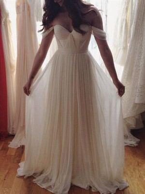 Styled to Smile Princess Style Off-the-Shoulder Beading Floor-Length Chiffon Dresses