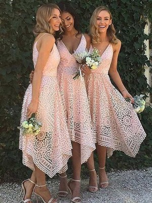 Glitz the Spot Princess Style V-neck Asymmetrical Lace Bridesmaid Dresses