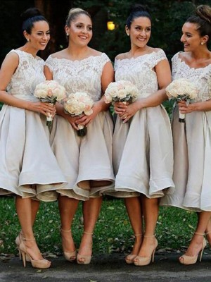 Yours Truly Princess Style Off-the-Shoulder Chiffon Knee-Length Bridesmaid Dresses