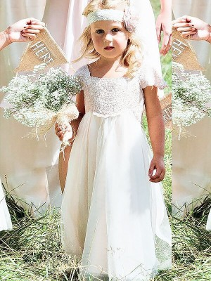 Memorable Magic Princess Style Square Lace Floor-Length Chiffon Flower Girl Dresses