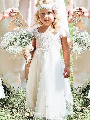 Memorable Magic Princess Style Square Lace Floor-Length Chiffon Flower Girl Dresses