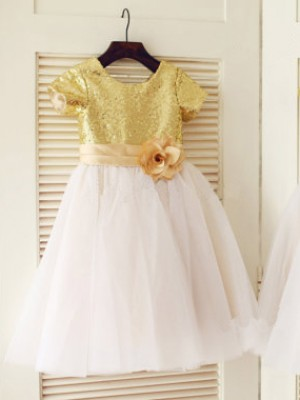 Limitless Looks Princess Style Scoop  Sequin Long Tulle Flower Girl Dresses