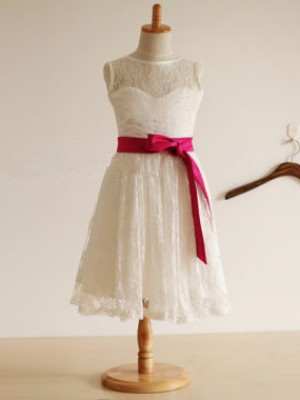 Beautiful You Jewel Princess Style Sash/Ribbon/Belt Long Lace Flower Girl Dresses
