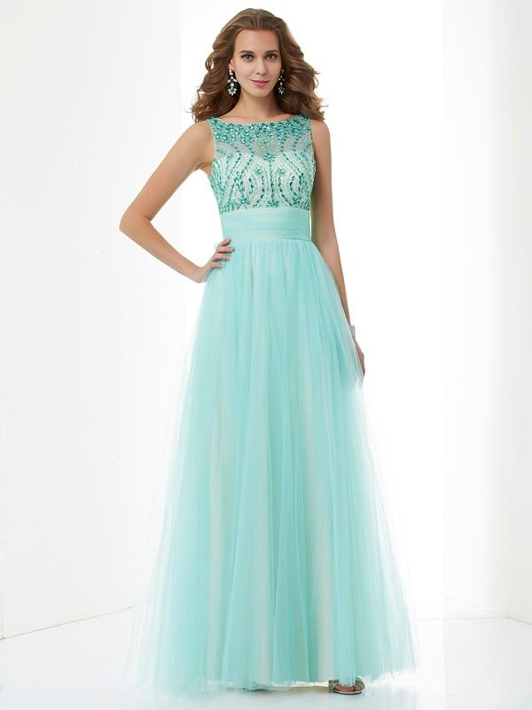 Modern Mood Princess Style Bateau Beading Long Elastic Woven Satin Dresses