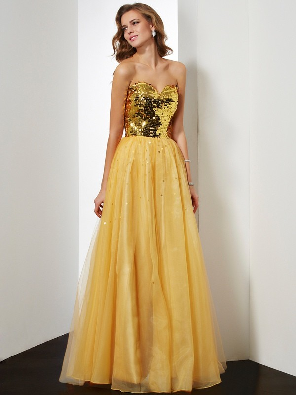 Festive Self Ball Gown Sweetheart Sequin Long Organza Dresses
