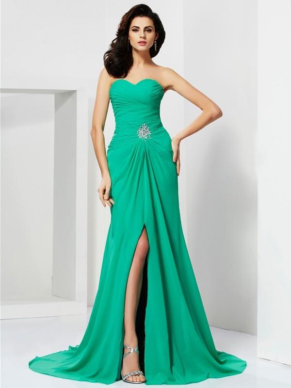 First Impressions Sheath Style Sweetheart Beading Long Chiffon Dresses