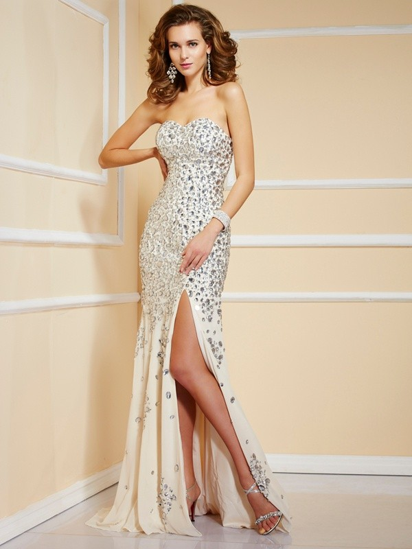Confident Option Sheath Style Sweetheart Beading Long Chiffon Dresses