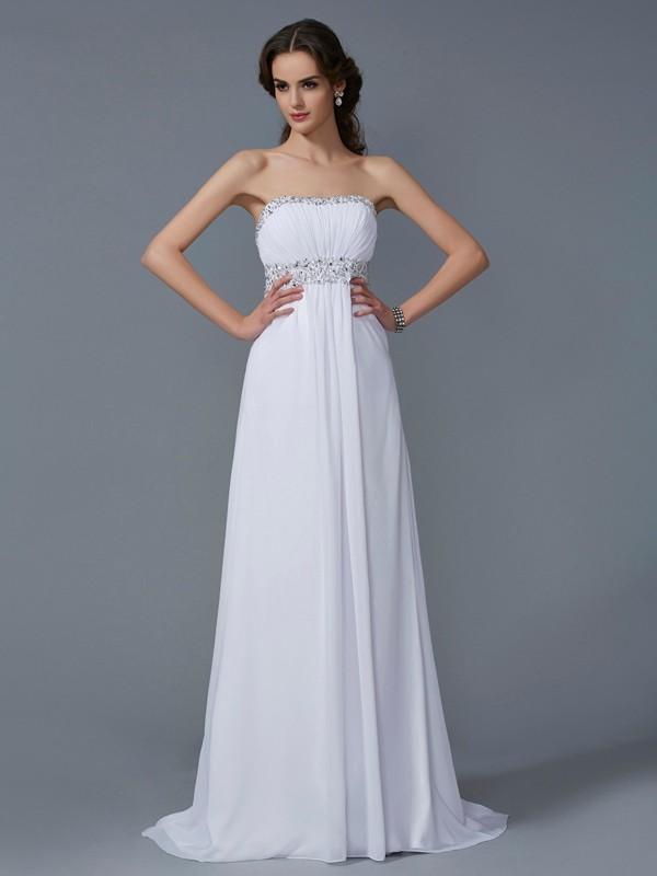Lively Identity Princess Style Strapless Beading Long Chiffon Dresses