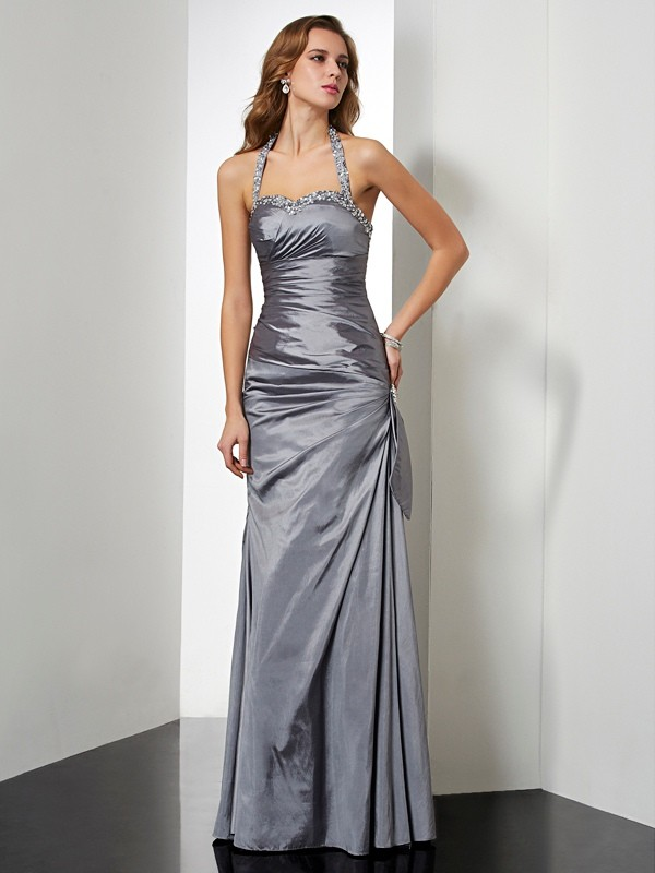 Yours Truly Mermaid Style Halter Beading Long Taffeta Dresses