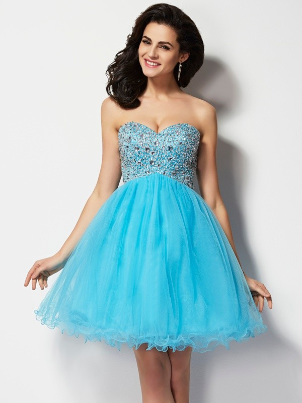 Naturally Chic Princess Style Sweetheart Short Beading Tulle Homecoming Dresses