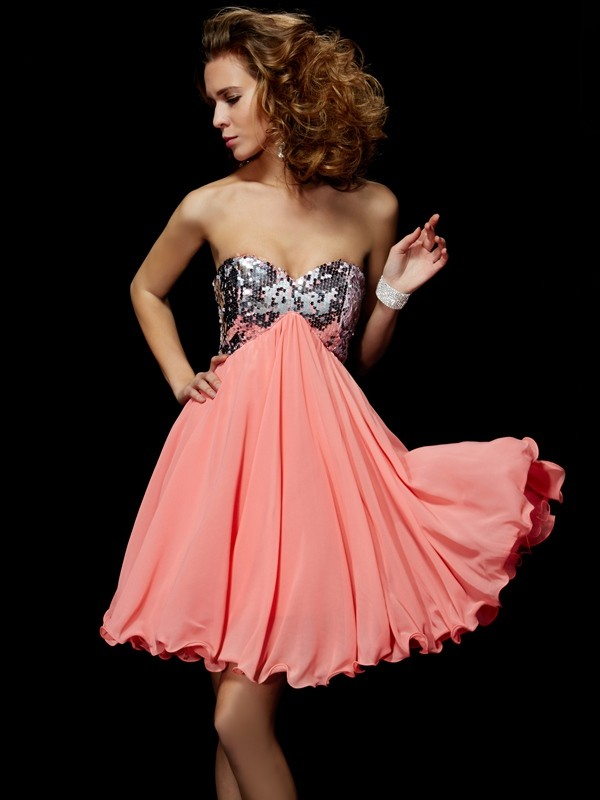 Time to Shine Princess Style Sweetheart Beading Short Chiffon Homecoming Dresses