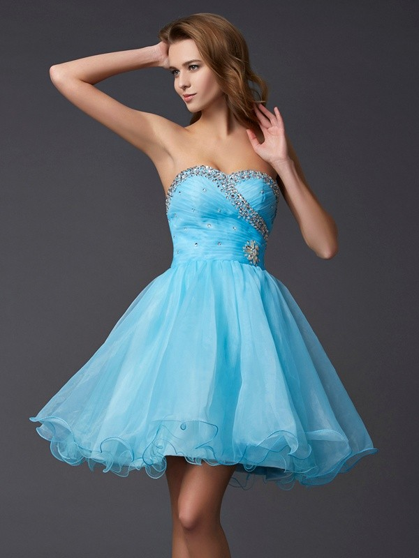 Limitless Looks Princess Style Sweetheart Beading Short Tulle Homecoming Dresses