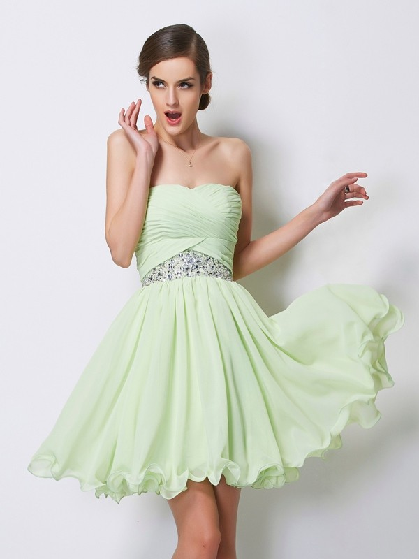 Efflorescent Dreams Princess Style Sweetheart Short Beading Chiffon Homecoming Dresses