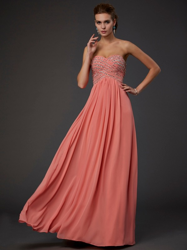 Confident Option Princess Style Sweetheart Beading Long Chiffon Dresses