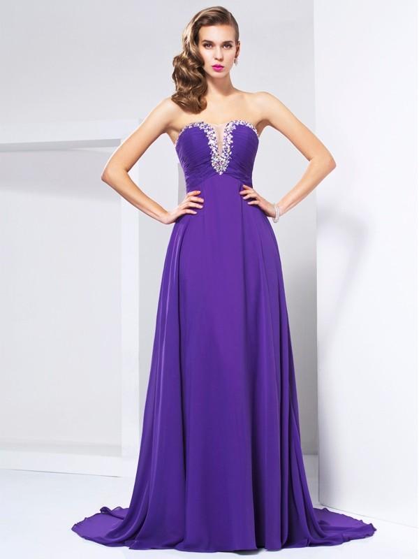 Fabulous Fit Princess Style Sweetheart Beading Ruched Long Chiffon Dresses