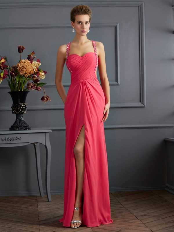 Open to Adoration Empire Sweetheart Ruffles Long Chiffon Dresses