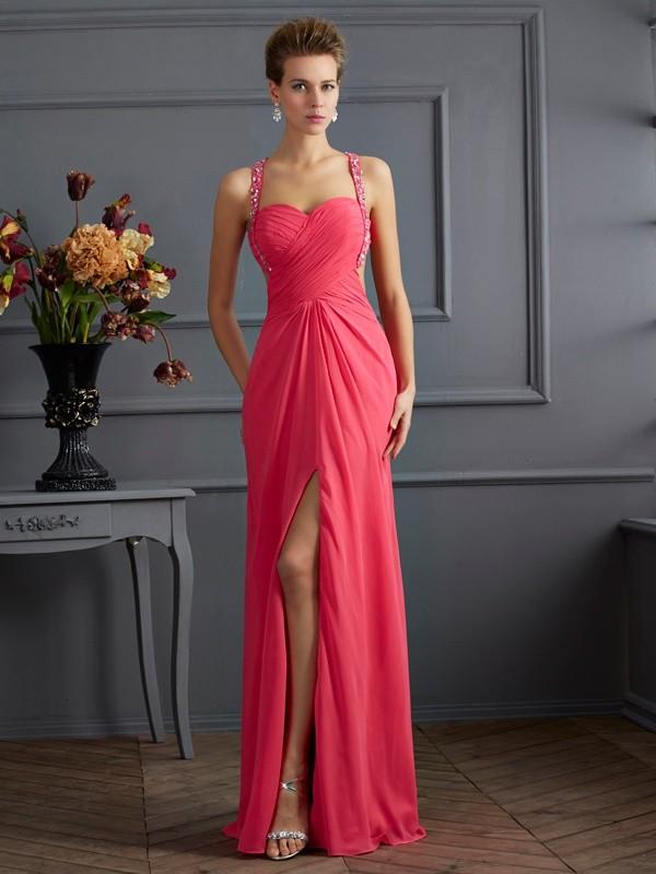 Open to Adoration Empire Sweetheart Ruffles Long Chiffon Dresses
