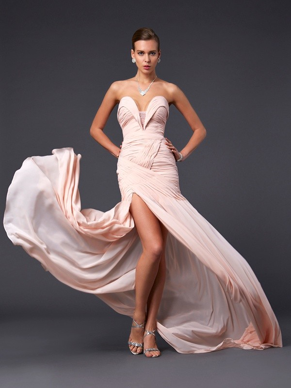 Embracing Grace Sheath Style Sweetheart Pleats Long Chiffon Dresses